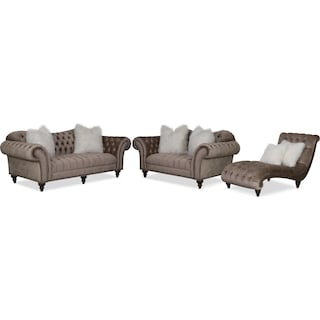 Brittney Sofa, Loveseat and Chaise Set - Champagne