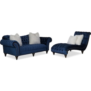 Brittney Sofa and Chaise Set - Navy