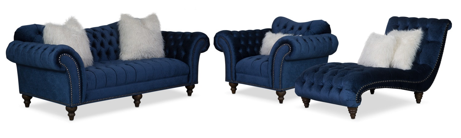 Brittney Sofa, Chaise and Chair Set - Navy