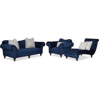 Brittney Sofa, Chair and Chaise Set - Navy