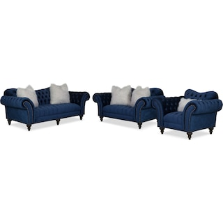 Brittney Sofa, Loveseat and Chair Set - Navy