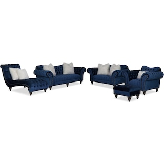 The Brittney Living Room Collection - Navy