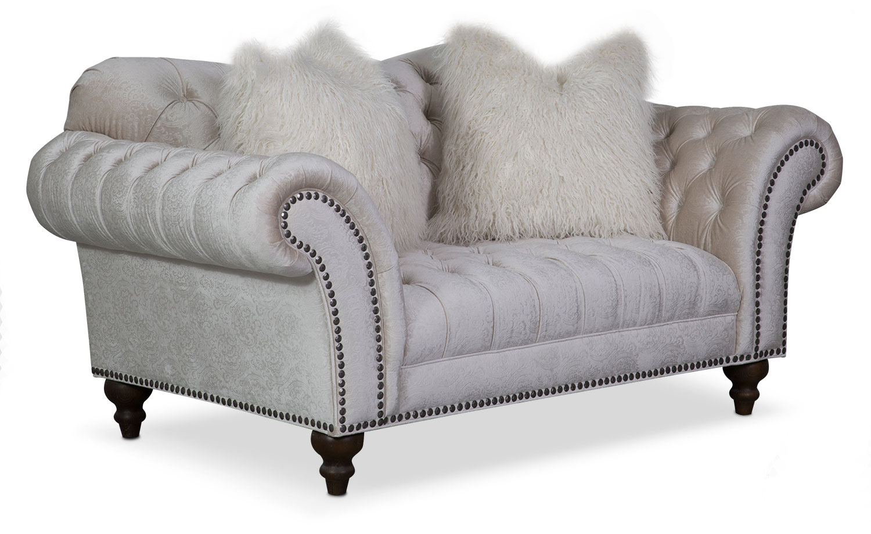 Living Room Furniture - Brittney Loveseat - Ivory