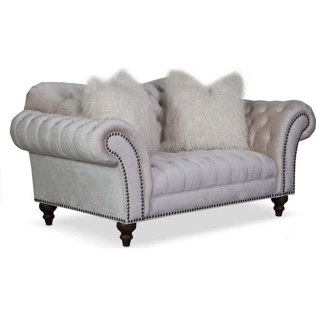 Living Room Furniture - Brittney Loveseat - Ivory