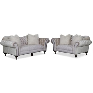 Brittney Sofa and Loveseat Set - Ivory