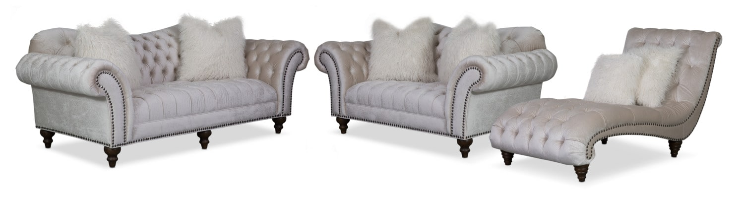 Brittney Sofa, Loveseat and Chaise Set - Ivory