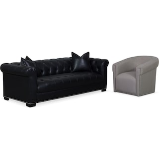 Couture Sofa and Swivel Chair Set - Black