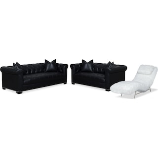 Couture Sofa, Apartment Sofa and Chaise Set - Black and White