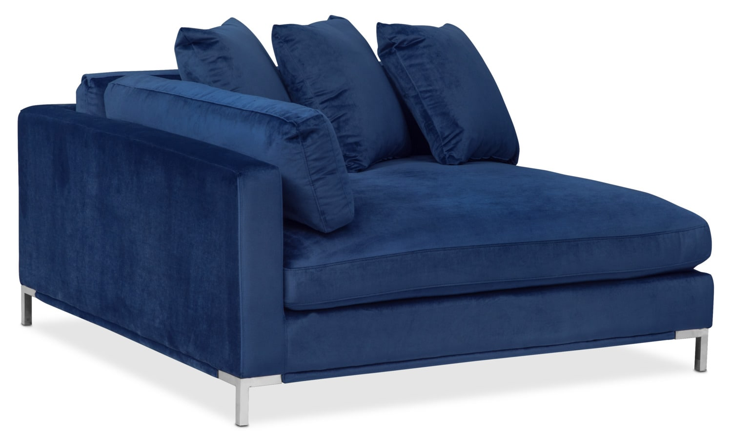 Moda 3 piece sectional with right facing chaise blue for Blue sectional sofa with chaise