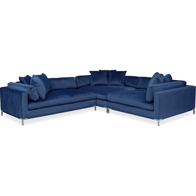 Living Room Furniture - Moda 3-Piece Sectional with Left-Facing Chaise - Blue