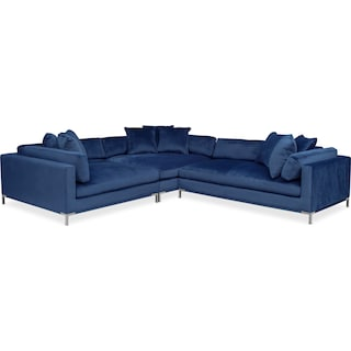 Moda 3-Piece Sectional with Right-Facing Chaise - Blue