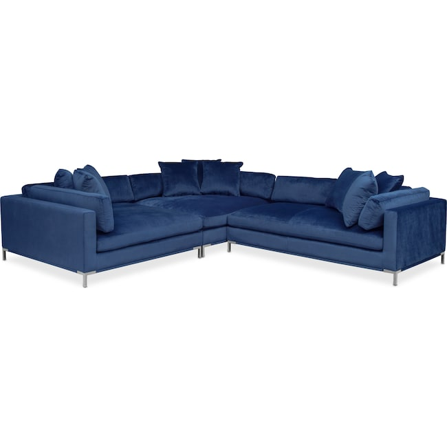 Moda 3 piece sectional with right facing chaise blue for Blue sectional with chaise