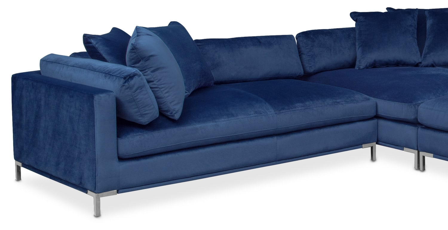 Moda 3 piece sectional with left facing chaise blue for Blue sectional with chaise
