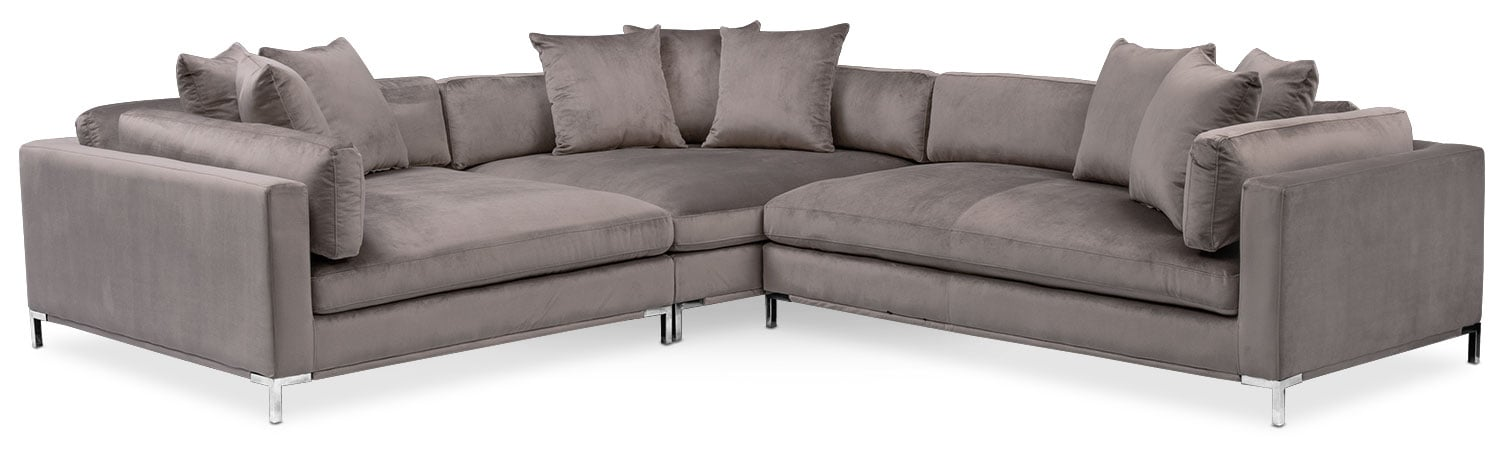 Moda 3-Piece Sectional with Right-Facing Chaise - Oyster  sc 1 st  American Signature Furniture : 3 piece sectionals - Sectionals, Sofas & Couches