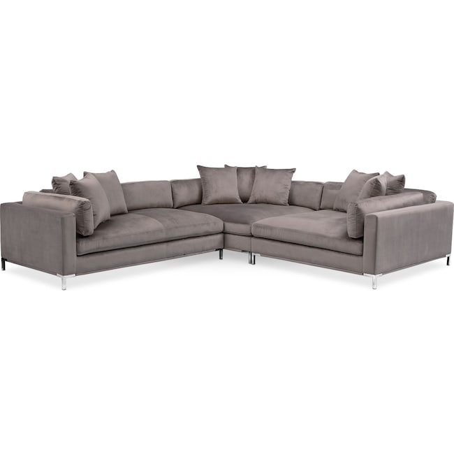 Living Room Furniture - Moda 3-Piece Sectional with Chaise