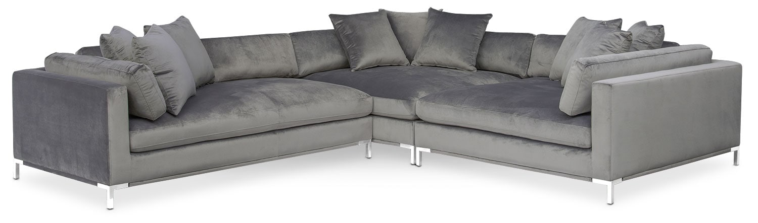 Moda 3-Piece Sectional with Left-Facing Chaise - Gray