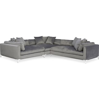 Moda 3-Piece Sectional with Right-Facing Chaise - Gray