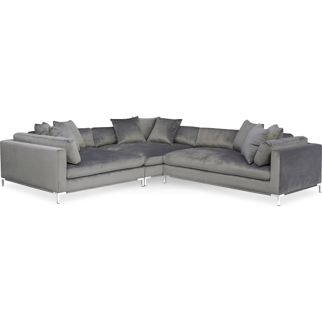 Moda 3 piece sectional with right facing chaise gray for American signature furniture commercial chaise