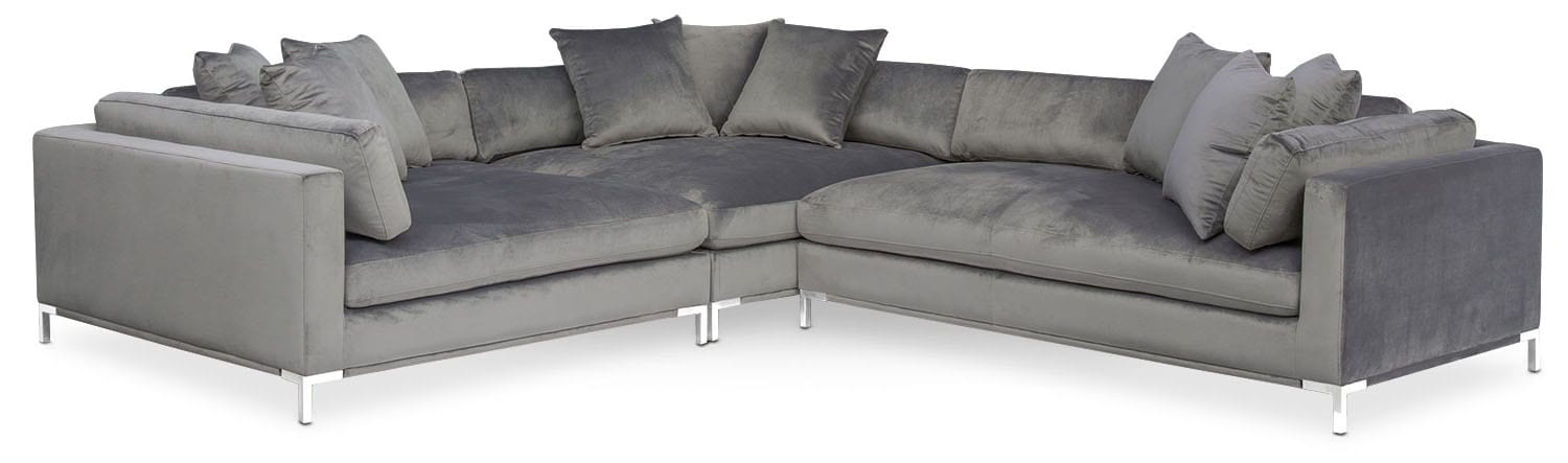 Moda 3 Piece Sectional With Right Facing Chaise   Gray Part 96
