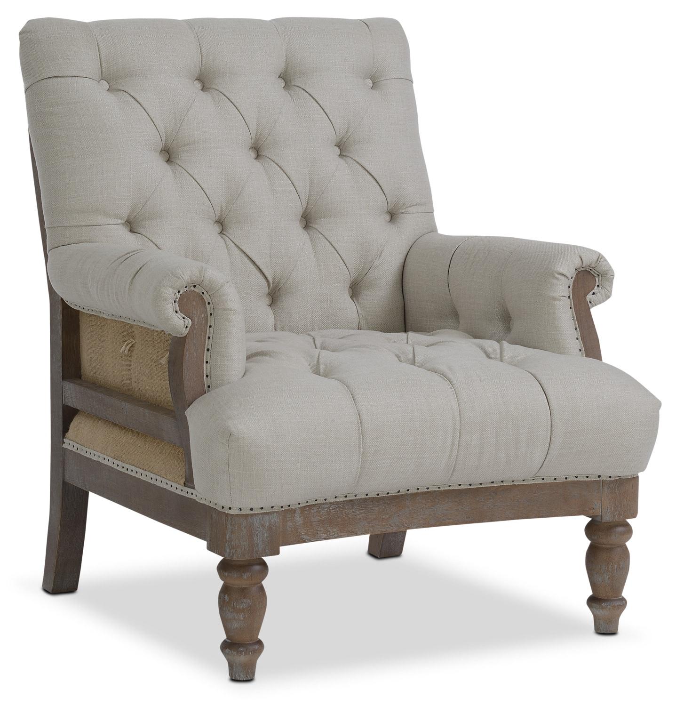 Bridget accent chair cream american signature furniture for Living room accent furniture
