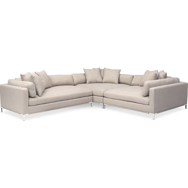 Living Room Furniture - Moda 3-Piece Sectional with Left-Facing Chaise - Ivory