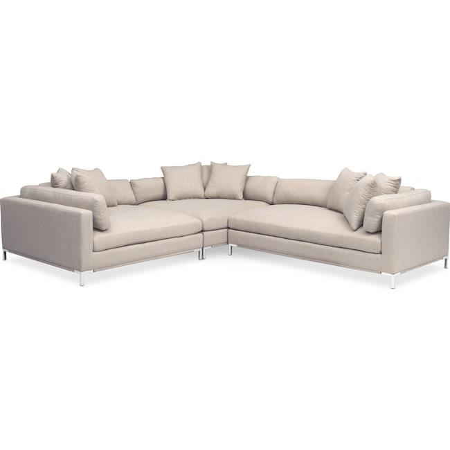 Living Room Furniture - Moda 3-Piece Sectional with Right-Facing Chaise - Ivory