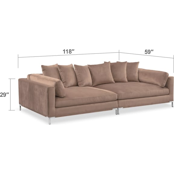 Living Room Furniture - Moda 2-Piece Sofa - Mushroom