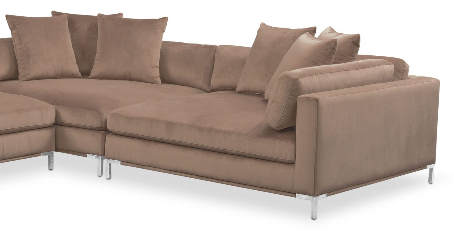 Moda 3 piece sectional with left facing chaise mushroom for 3 piece sectional sofa with chaise