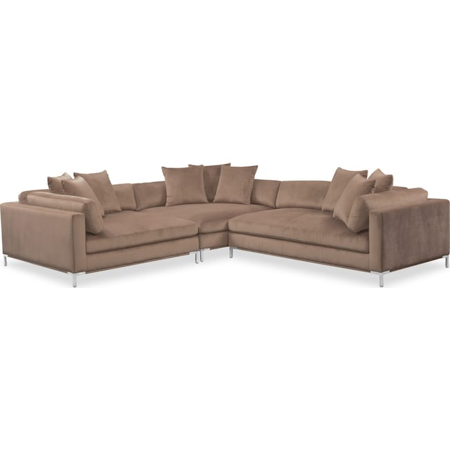 Living Room Furniture - Moda 3-Piece Sectional with Right-Facing Chaise - Mushroom