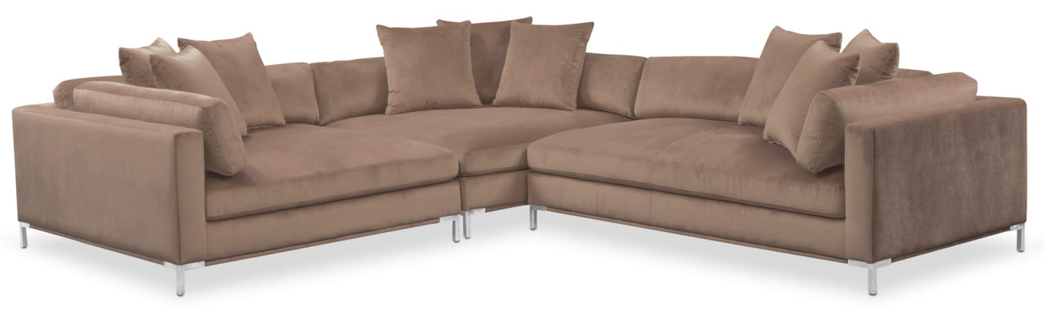 Living Room Furniture - Moda 3-Piece Sectional with Right-Facing Chaise - Mushroom  sc 1 st  American Signature Furniture : american signature sectional - Sectionals, Sofas & Couches