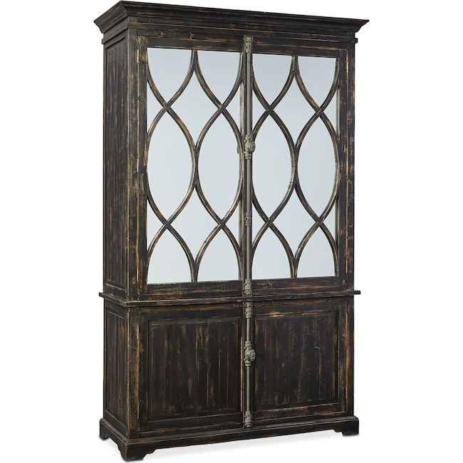 Dining Room Furniture - Dorchester Cabinet with Hutch - Rubbed Black