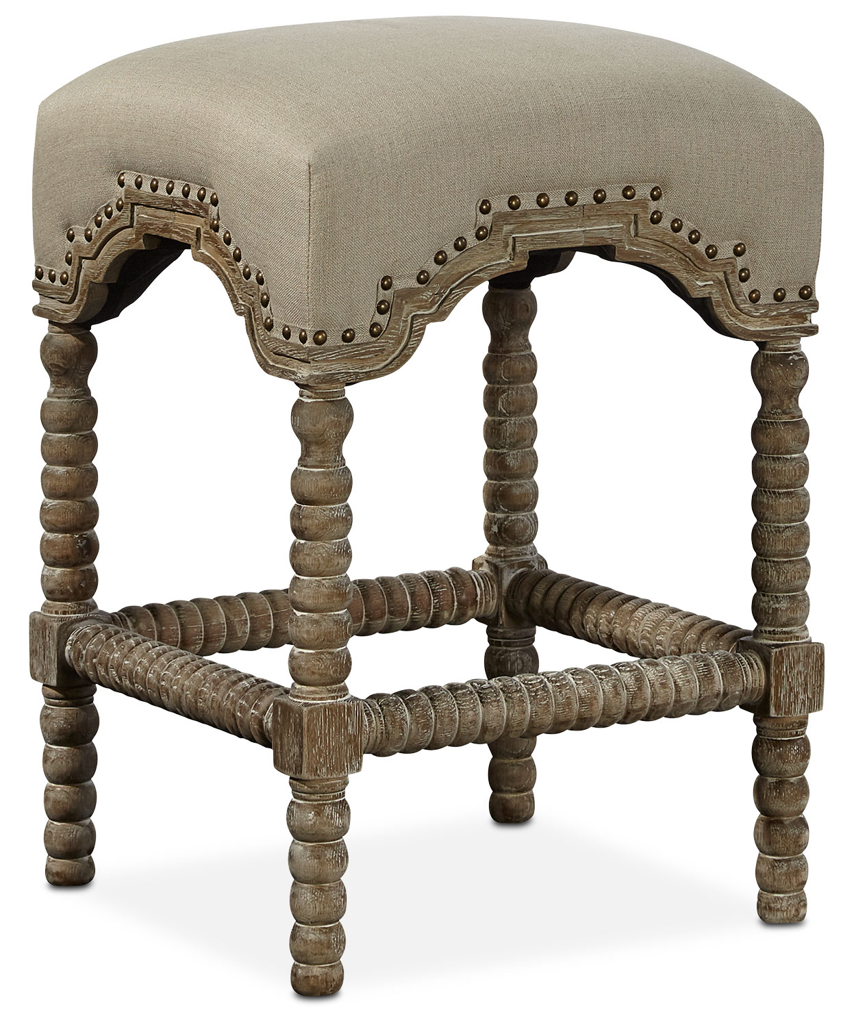 Kingdom Backless Counter-Height Stool - Linen