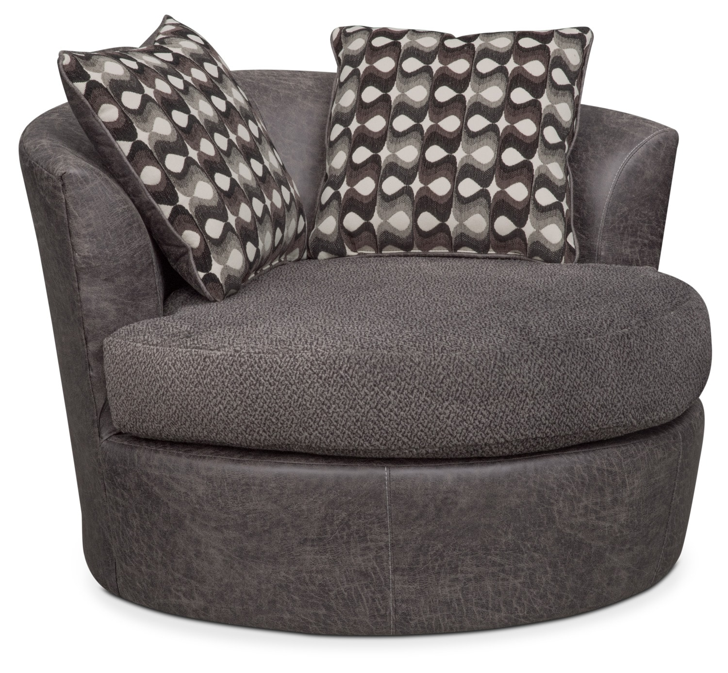 Living Room Furniture - Brando Swivel Chair - Smoke