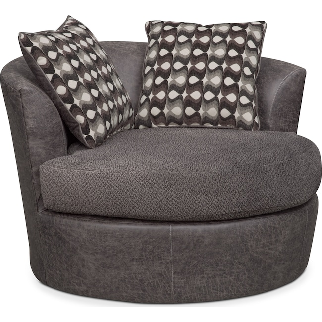 Living Room Furniture - Brando Swivel Chair - Smoke