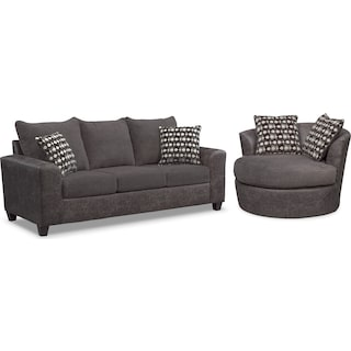 Brando Queen Memory Foam Sleeper Sofa and Swivel Chair Set - Smoke
