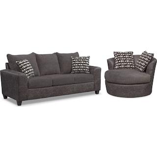 Brando Sofa and Swivel Chair Set - Smoke