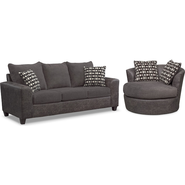 Living Room Furniture - Brando Queen Innerspring Sleeper Sofa and Swivel Chair Set - Smoke