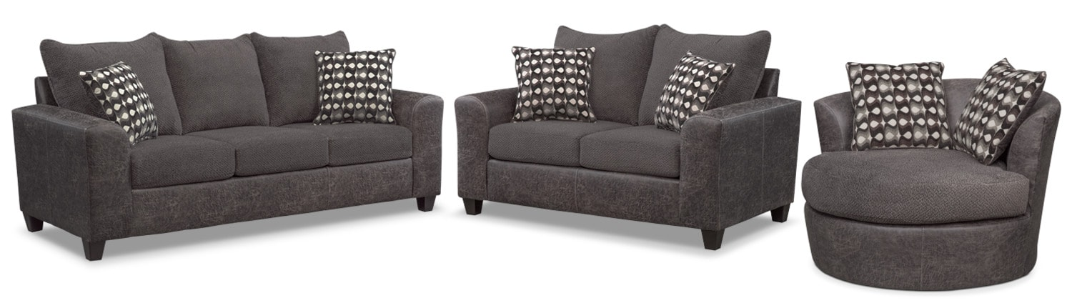 Brando Sofa, Loveseat and Swivel Chair Set - Smoke
