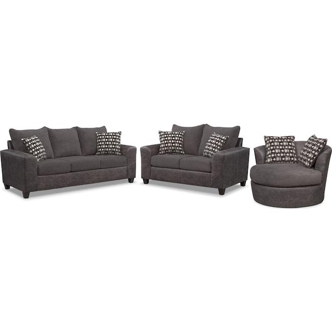 Living Room Furniture - Brando Queen Innerspring Sleeper Sofa, Loveseat and Swivel Chair Set - Smoke