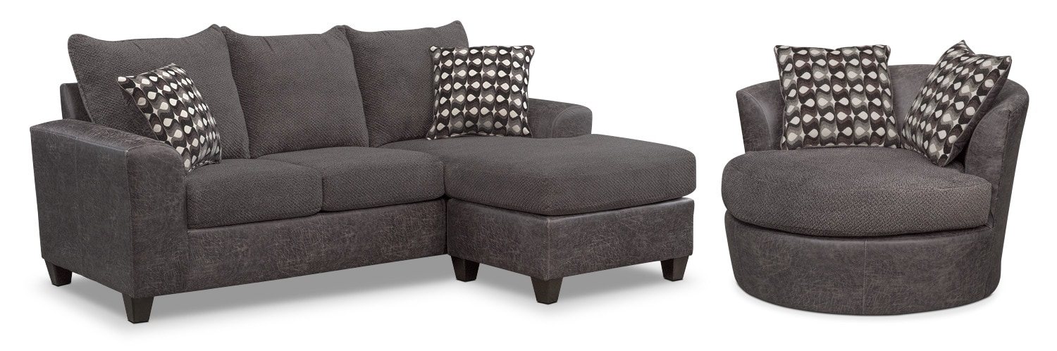 Brando Sofa With Chaise And Swivel Chair Set Smoke