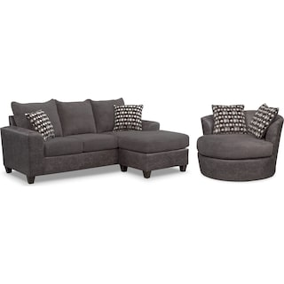 Brando Sofa with Chaise and Swivel Chair Set