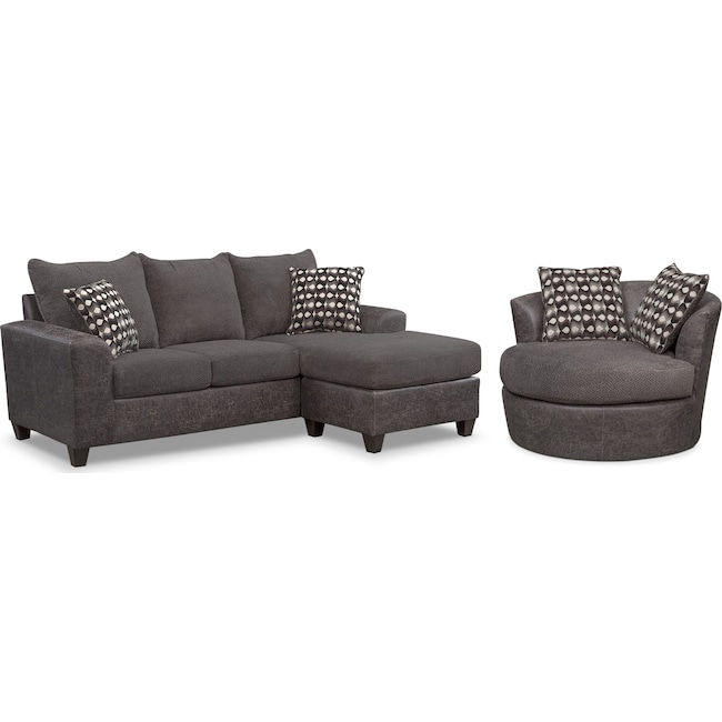 Living Room Furniture - Brando Sofa with Chaise and Swivel Chair Set - Smoke