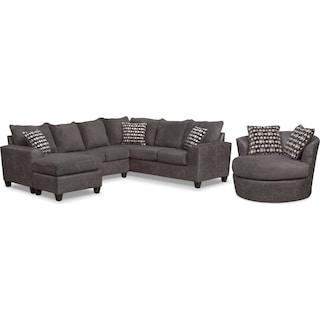 Brando 3-Piece Sectional with Chaise and Swivel Chair Set - Smoke