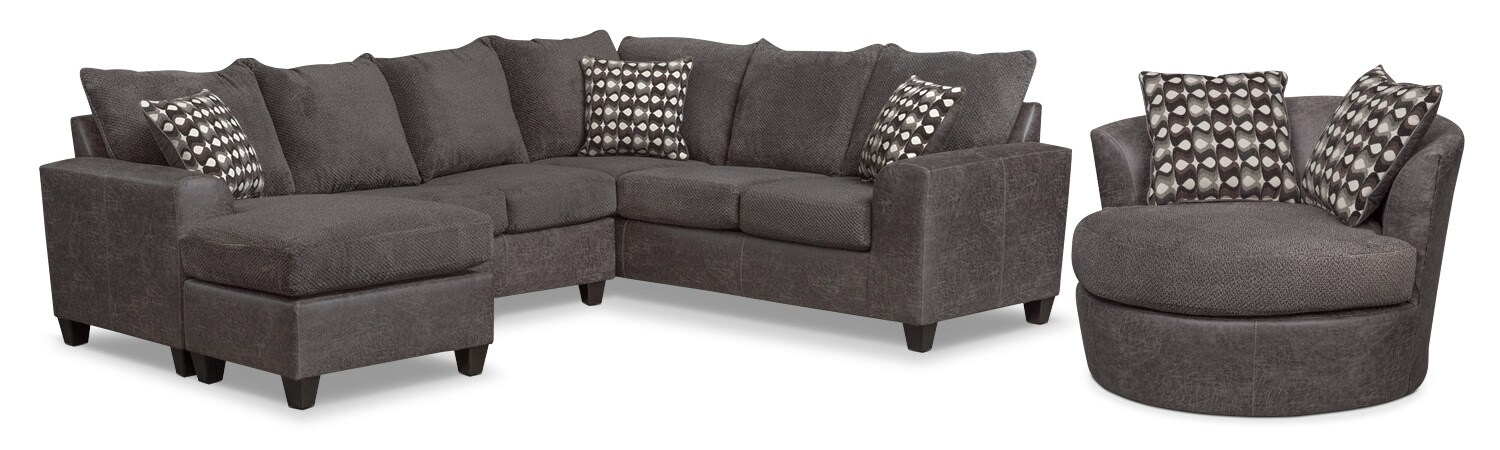 Brando 3-Piece Sectional with Chaise and Swivel Chair Set - Smoke  sc 1 st  American Signature Furniture : kara chaise sectional - Sectionals, Sofas & Couches