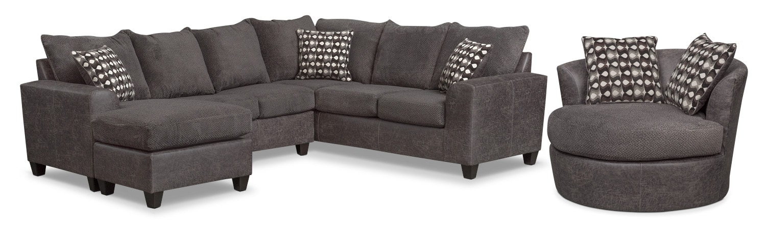 Living Room Furniture   Brando 3 Piece Sectional With Chaise And Swivel  Chair Set   Part 64