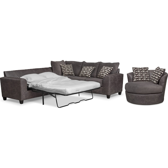 Living Room Furniture - Brando 2-Piece Memory Foam Sleeper Sectional and Swivel Chair Set - Smoke