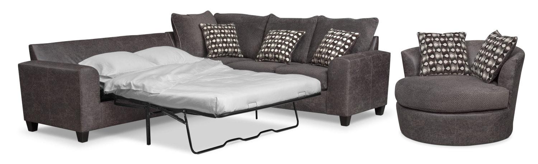 Brando 2 Piece Memory Foam Sleeper Sectional And Swivel Chair Set   Smoke