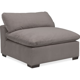 Plush Armless Chair - Gray