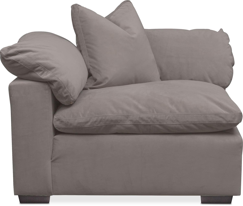 Plush Corner Chair - Gray