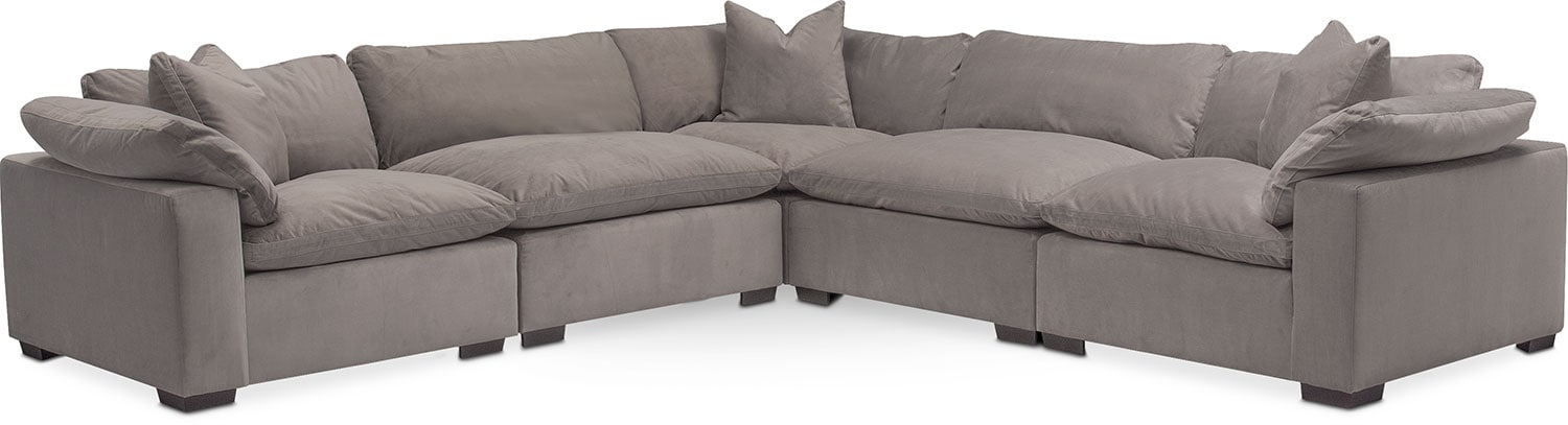 Living Room Furniture - Plush 5-Piece Sectional - Abbington Fog  sc 1 st  American Signature Furniture : american signature sectional - Sectionals, Sofas & Couches
